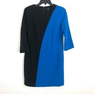 Ann Taylor Dress Sz 4 Colorblock Black Blue Sheath